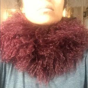 Gorgeous oxblood Mongolian fur cowl neck scarf