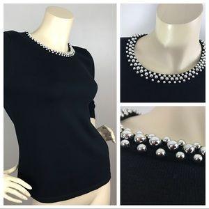 Jones New York, Med, Black Cotton Knit Top