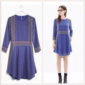 MADEWELL Blue Silk Tee Dress in Ascot Grid: XS