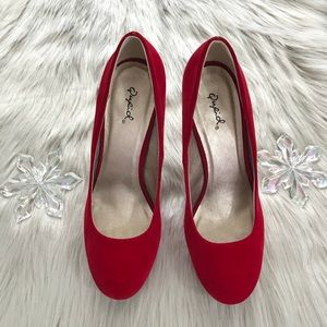 👠 Qupid Red Velvet Heels 👠