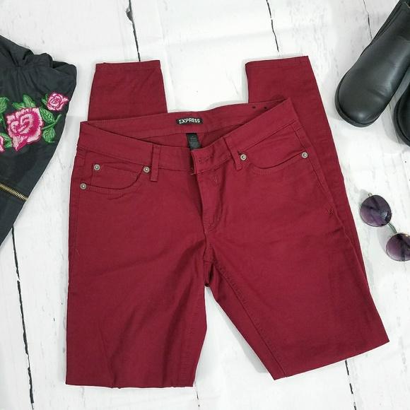 Express Denim - Express Burgundy Skinny Jeans