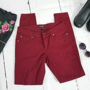 Express Burgundy Skinny Jeans
