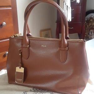Fantastic caramel brown leather shoulder bag