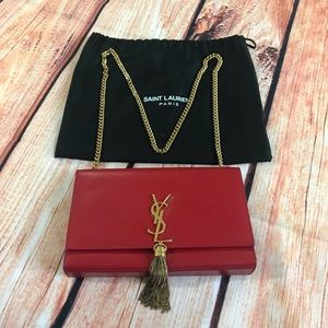 Authentic YSL monogrammed red chain tassel bag