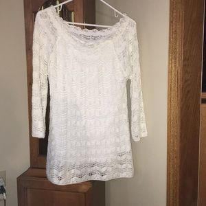 Off the shoulder White 3/4 sleeve knitted sweater