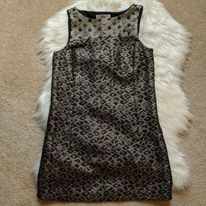 TIBI sparkly gold print shift dress size 6
