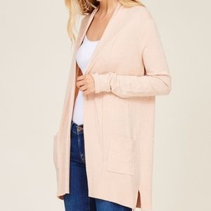NEW OPEN FRONT LONG SLEEVE BASIC KNIT CARDIGAN