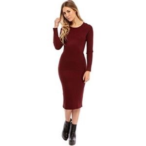 🆕💥 ASOS Bodycon Dress With Long Sleeves In Rib