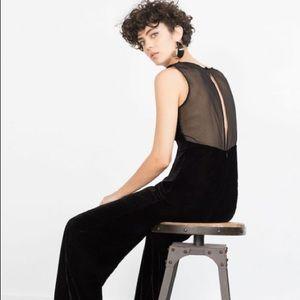 Zara NWT velvet wide leg jumpsuit size Med