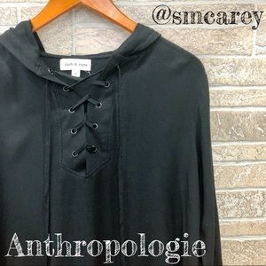 New! Black Cloth & Stone Lace Up Hoodie M