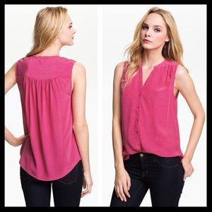 joie // finnegan pink print silk tank top shirt