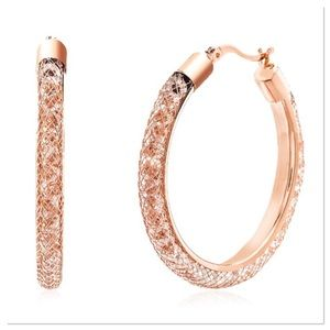Stunning Crystal & Rose Gold Mesh Hoops
