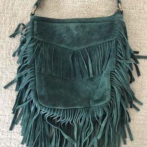 Vintage Fringe Emerald Green Genuine Suede Bag