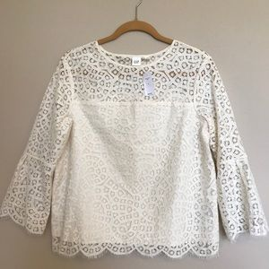 Lace Three-Quarter Bell Sleeve Top