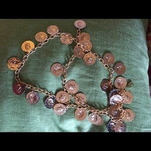 VINTAGE chain & coin necklace or belt great shape