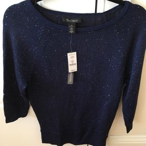 Navy Sequined WHBM Banded Sweater