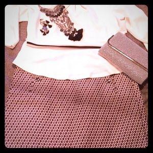 Loft Gray & Silver Woven Geomagnetic Skirt