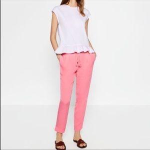 Zara pink flowy pants