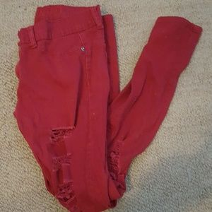 Hot red skinny jeans