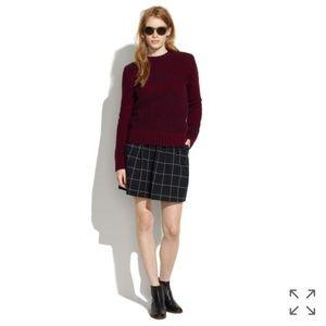 Madewell Windowpane Knit Grid Plaid Skirt