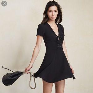 Reformation Black Koa Lace Up Babydoll Dress