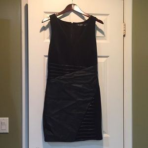 Guess black dress with pleather in skirt