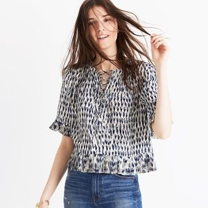 Madewell lace up blouse