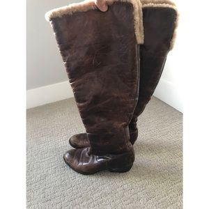 Born Leather & Shearling Knee High Boots