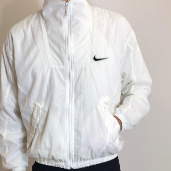 5d78e4ab5fb85 Nike Jackets & Coats   Vintage White Nylon Windbreaker   Poshmark