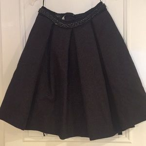 Prada Gray Wool Embellished Full COUTURE Skirt