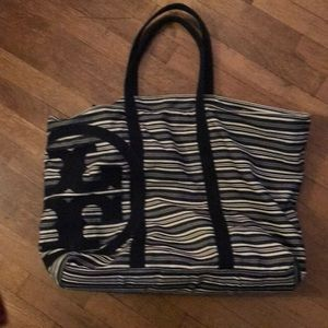 Tory Burch blue and white large bag.