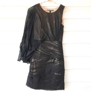 BCBGMaxAzria one shoulder drape mesh mini dress