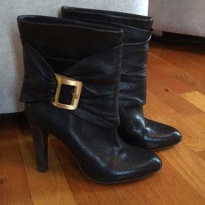 BCBG MaxAzria Black Leather Booties