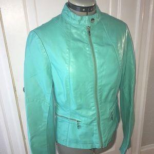 Jackets & Blazers - Turquoise Pleather Vegan Leather Jacket