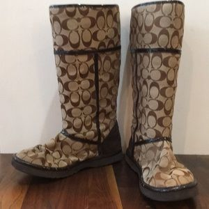 """COACH Nicole Classic """"C"""" Wool Lined Boots"""