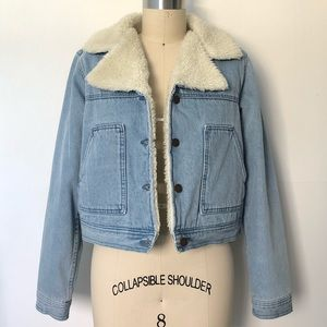 Cropped shearling lined denim jacket