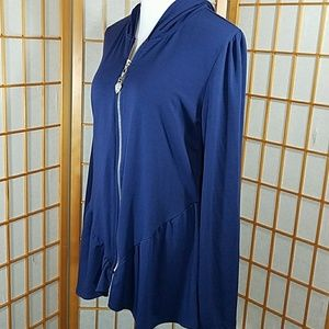 Green Dragon for Boston Proper blue zip up hoodie