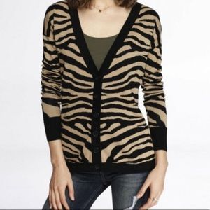 Express | Zebra Print Cardigan Sweater Black Tan M