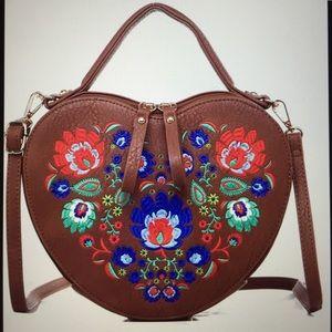 NEW Embroidered Heart satchel/crossbody