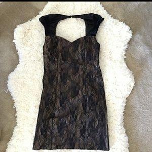 Guess lace + velvet midi dress