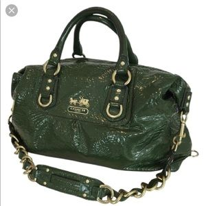 Authentic green patent leather Coach bag