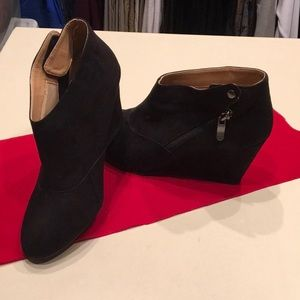 Suede Shootie Wedge Boots