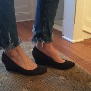 Calvin Klein brown suede Wedge Heels. Like new!
