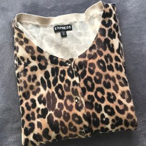 Express Cheetah Print Button Up Cardigan