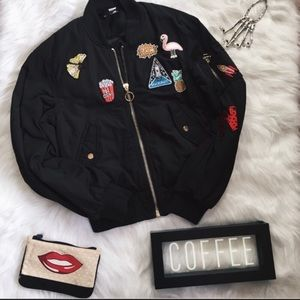 HP: H&M Black Bomber Jacket with Patches