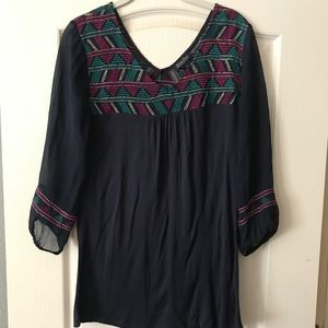 Lucky Brand navy embroidered tunic top