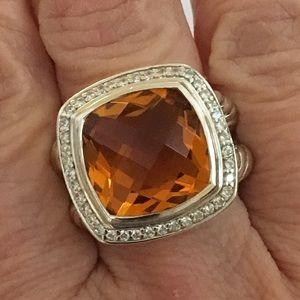 David Yurman L 14mm Citrine & Diamond Albion Ring