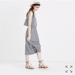Madewell Tie Strap Tank Top in Gingham L