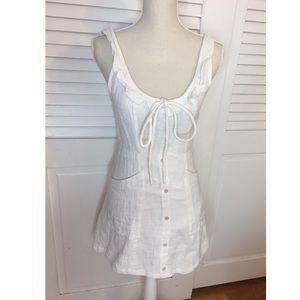 Princess Polly white linen button up dress