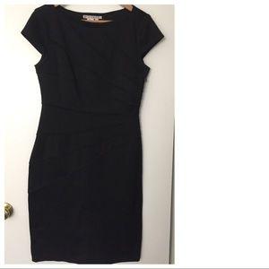 Black figure flattering sheath dress